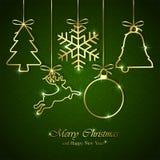 Julbeståndsdelar på sömlös grön bakgrund stock illustrationer