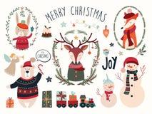 Julbeståndsdelsamling med hjortar och säsongsbetonade beståndsdelar Royaltyfria Bilder