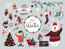 Julbeståndsdelsamling med säsongsbetonade objekt Arkivbild