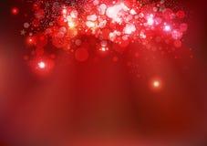 JulBokeh sprider den glödande magiska gnistrandet den röda vintersäsongen stock illustrationer