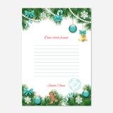 Julbokstav från den Santa Claus mallen A4 stock illustrationer