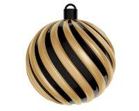 Julboll i svart och guld- färg Vriden julboll på vit bakgrund framförande 3d Royaltyfri Fotografi