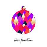 Julboll med kulöra trianglar Glad julkort vektor illustrationer