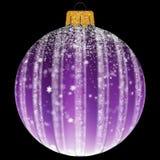 Julboll med snöflingan i purpurfärgad färg arkivfoton