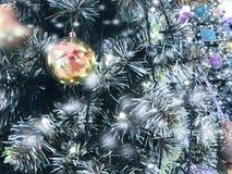 Julboll som hänger på träd med snöeffekt arkivbilder