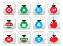 Julboll, uppsättning för julstruntsakknappar Royaltyfria Foton