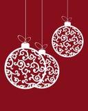 Julbollar i retro stil royaltyfri illustrationer