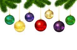 Julbollar med prydnaden Päls-träd ram Fotografering för Bildbyråer