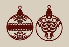 Julbollar med snör åt modellen royaltyfri illustrationer