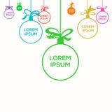 Julbollar med ställena för text royaltyfria bilder