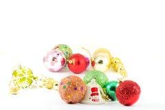 Julbollar med vit bakgrund Fotografering för Bildbyråer