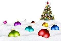 Julbollar och xmas-träd Royaltyfri Foto