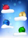 Julbollar på den blåa bakgrunden Royaltyfri Fotografi