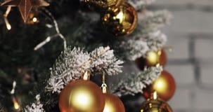 Julbollar på julgranen Bakgrund med färgrika struntsaker på julgranen arkivfilmer