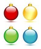 Julbollar på white vektor illustrationer
