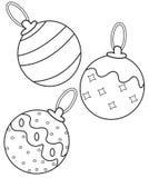 Julbollar som färgar sidan Arkivbild