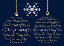 Julbollar som skapas från text Arkivbilder