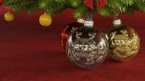 Julbollar under julgranen royaltyfri illustrationer