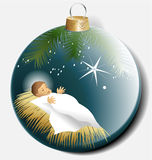 Julbollen med behandla som ett barn Jesus Royaltyfri Foto