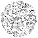 Julbollen skissar stock illustrationer
