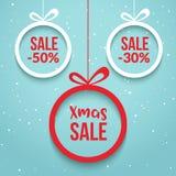 Julbollförsäljning Vektoretikett för specialt erbjudande För feriekort för nytt år mall Shoppa marknadsaffischdesignen vektor illustrationer