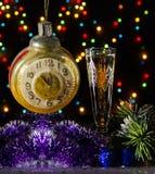 Julchampagne i mörker Fotografering för Bildbyråer