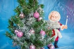julclaus santa tree Royaltyfria Foton