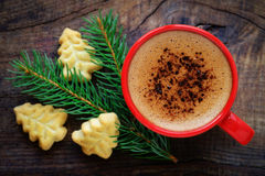 Julcoffe och kakor royaltyfri bild