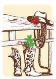 Julcowboybeståndsdelar för ferie. stock illustrationer