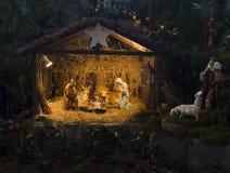 Julcreche med Joseph Mary och Jesus Royaltyfria Bilder