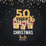 Juldagen och det lyckliga nya året avfärdar banret för försäljningsvektorillustrationen 50% av design för shoppingvagn Arkivfoto