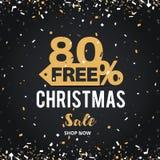 Juldagen och det lyckliga nya året avfärdar banret för försäljningsvektorillustrationen 80% av design för shoppingvagn Arkivfoto