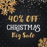 Juldagen och det lyckliga nya året avfärdar försäljning 40% av illustrationbaner Royaltyfri Foto