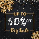 Juldagen och det lyckliga nya året avfärdar försäljning 50% av illustrationbaner Royaltyfri Foto