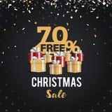 Juldagen och det lyckliga nya året avfärdar försäljningsillustrationbanret 70% av design för shoppingvagn Arkivfoton