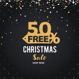 Juldagen och det lyckliga nya året avfärdar försäljningsillustrationbanret 50% av design för shoppingvagn Arkivbilder