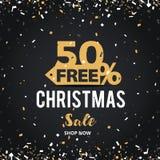 Juldagen och det lyckliga nya året avfärdar försäljningsillustrationbanret 50% av design för shoppingvagn Fotografering för Bildbyråer