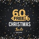 Juldagen och det lyckliga nya året avfärdar försäljningsillustrationbanret 60% av design för shoppingvagn Royaltyfria Foton