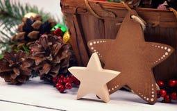 Juldekor i en lantlig stil Handgjord stjärna Närbild gåva arkivfoto
