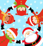 juldeltagare s santa stock illustrationer