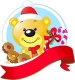 Juldesign med den gulliga vektorbjörnen Arkivbild