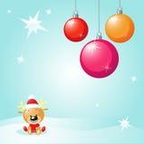 Juldesign med den xmas-bollar och renen Royaltyfria Bilder