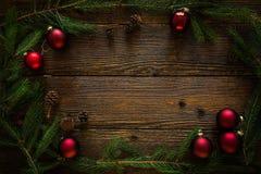 Juldesign med prydnader Utrymme för text Fotografering för Bildbyråer