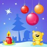 Juldesign med xmas-bollar, stearinljus Arkivbild