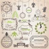 Juldesignbeståndsdelar vektor illustrationer