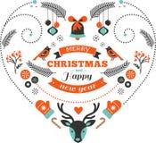 Juldesignhjärta med fåglar och beståndsdelar Royaltyfri Fotografi