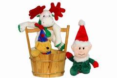 Juldocka på vit bakgrund, julsouvenir - X'MAS Doll som isoleras på vit bakgrund Arkivbild