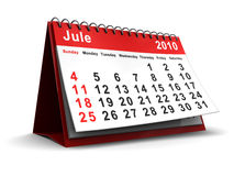 Jule 2010 calendar. 3d illustration of jule 2010 desktop calendar, over white background Royalty Free Stock Photo