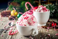 Julefterrätt, hemlagad pepparmintgodis Cane Ice Cream royaltyfri foto