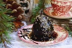 Julefterrättpäron med choklad arkivfoton